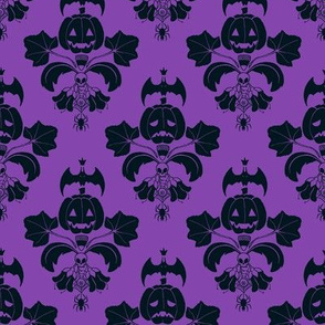 Jack O Lantern Damask Purple/Black