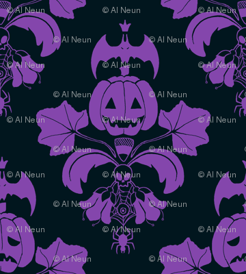 Jack O Lantern Damask Black/Purple