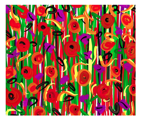 pillow poppy stripe centered fabric by mojiarts on Spoonflower - custom fabric