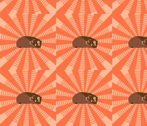 Baby Hippo Starshine I fabric by featheralchemist on Spoonflower - custom fabric