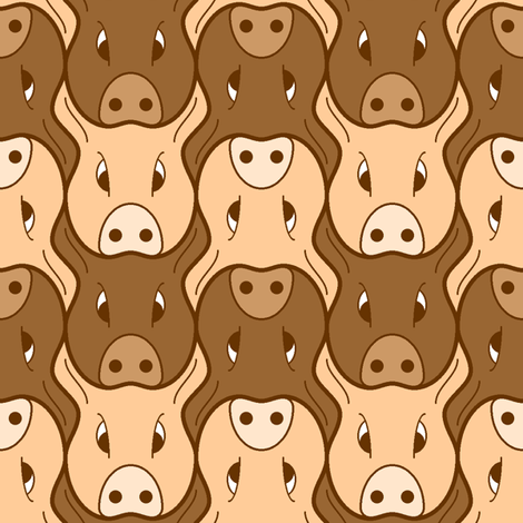 pig head 2 fabric by sef on Spoonflower - custom fabric