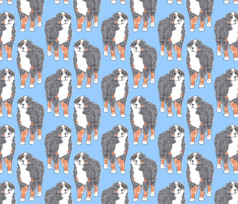 Standing Bernese mountain dog sketch - blue fabric by rusticcorgi on Spoonflower - custom fabric
