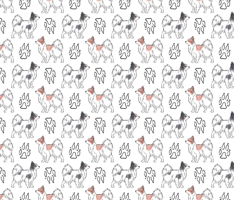 Posing Papillons and paw prints fabric by rusticcorgi on Spoonflower - custom fabric