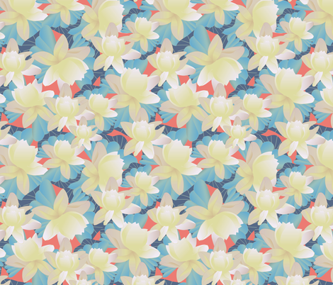 lotus vibrant fabric by kociara on Spoonflower - custom fabric