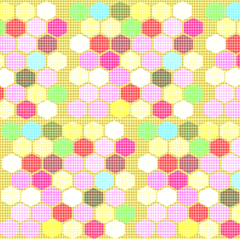 Vaguely Gingham Honeycomb fabric by boris_thumbkin on Spoonflower - custom fabric