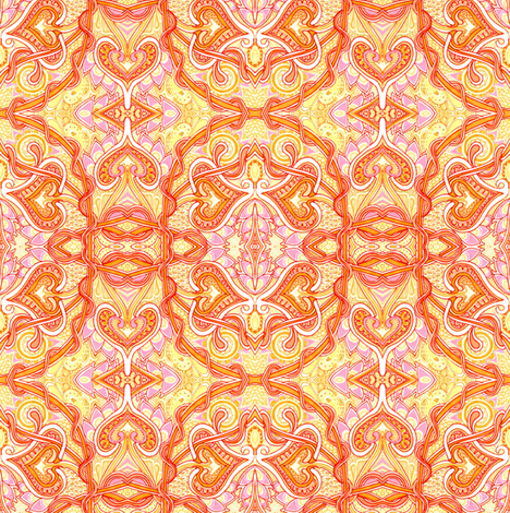 Tangled Orange Spades fabric by edsel2084 on Spoonflower - custom fabric
