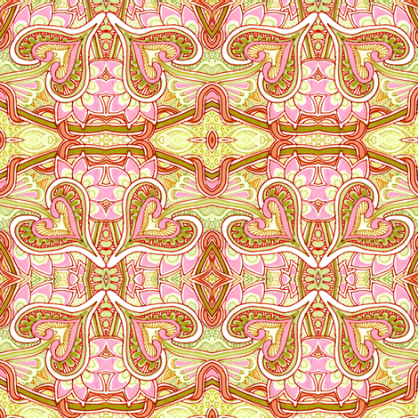 Pink and Olive, Hearts and Spades outlined in Red fabric by edsel2084 on Spoonflower - custom fabric