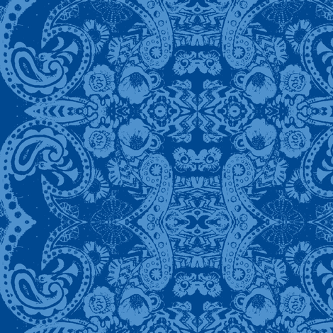 Floral Blue Bandana  fabric by serendipity_textiles on Spoonflower - custom fabric
