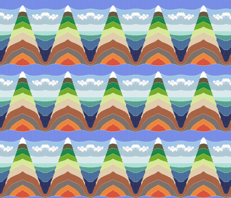 From Mount Everest to the Mariana Trench - faux Bargello fabric by victorialasher on Spoonflower - custom fabric