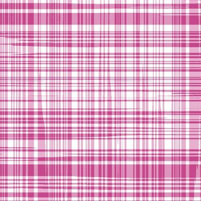 Wonky Pink and White Plaid