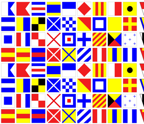 Nautical Flags Small fabric by silkaphyllis on Spoonflower - custom fabric