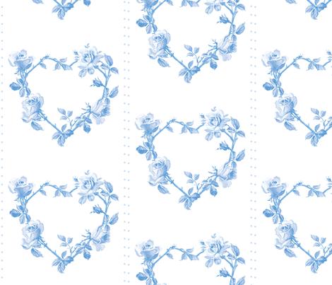 Swedish Folk Heart Wreath in Blueberry Blue fabric by lilyoake on Spoonflower - custom fabric