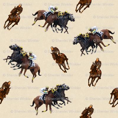 Carriage Trade Faster - Thoroughly Thoroughbreds Print - Cream