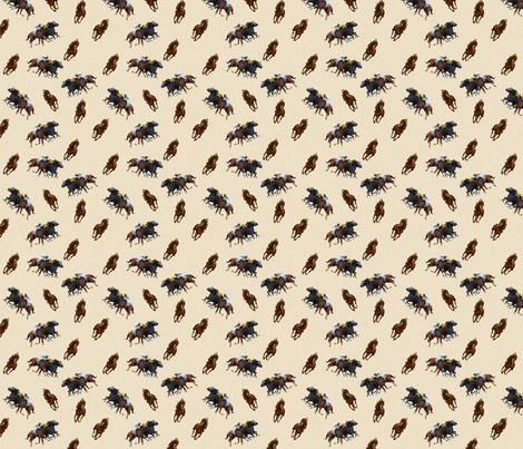 Carriage Trade Faster - Thoroughly Thoroughbreds Print - Cream fabric by shenlei on Spoonflower - custom fabric
