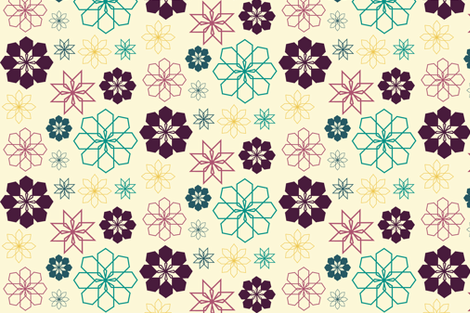 multi_floral_cream_fall fabric by bexcaliber on Spoonflower - custom fabric