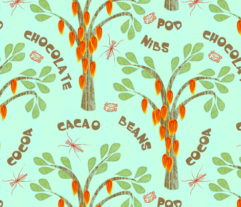 cacao midge kakaw bluer gigantic fabric by glimmericks on Spoonflower - custom fabric