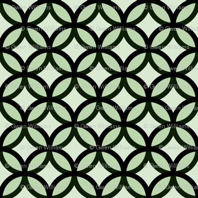 circles diamonds moss green