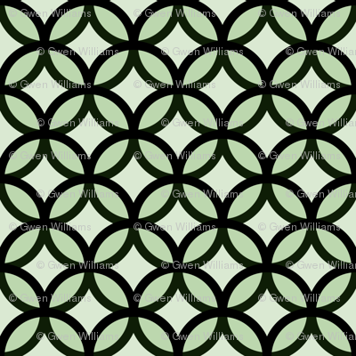 circles diamonds moss green big