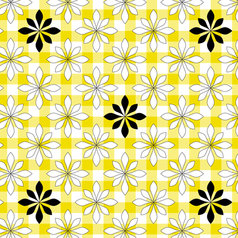 flowers on yellow check fabric by ravynka on Spoonflower - custom fabric
