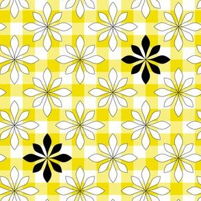 flowers on yellow check