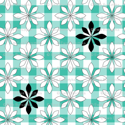 flowers on turquoise check
