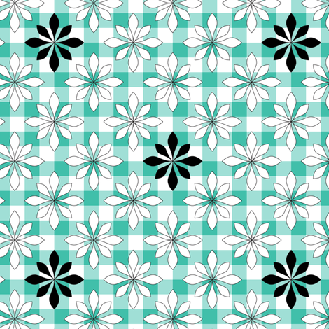 flowers on turquoise check fabric by ravynka on Spoonflower - custom fabric
