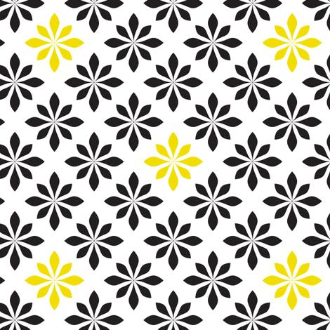 retro flowers yellow and black fabric by ravynka on Spoonflower - custom fabric