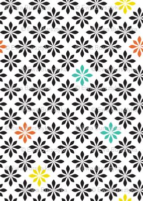 stylized florals retro colors