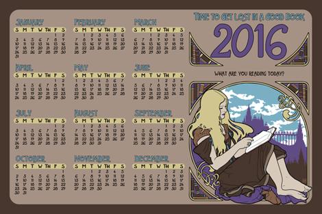 2016 Books Calendar fabric by phantomssiren on Spoonflower - custom fabric