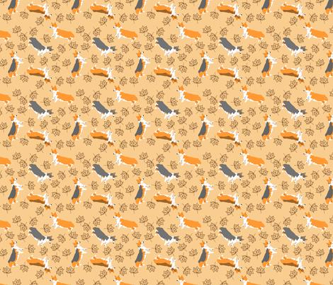 Ditzy seasons - fall Pembrokes fabric by rusticcorgi on Spoonflower - custom fabric