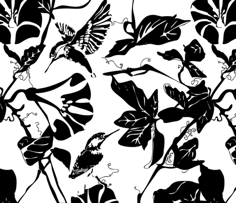 Kingfisher_black___white fabric by mj_designs on Spoonflower - custom fabric