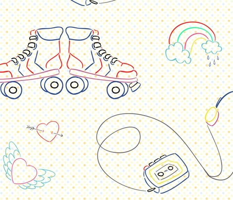 80s Embroidery motifs - Wired for Sound! fabric by cherryandcinnamon on Spoonflower - custom fabric