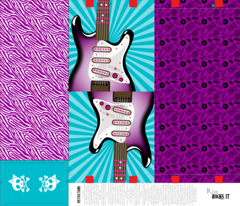 Electric guitar tote bag fabric by risarocksit on Spoonflower - custom fabric