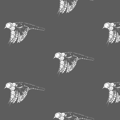 button bird in flight-grey fabric by carrie_narducci on Spoonflower - custom fabric