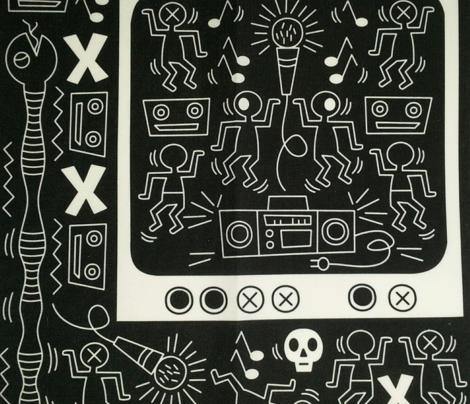Micro - waved Media (white on black) ~ an homage to Keith Haring