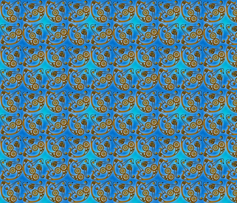 steampunk paisley blue fabric by artgarage on Spoonflower - custom fabric