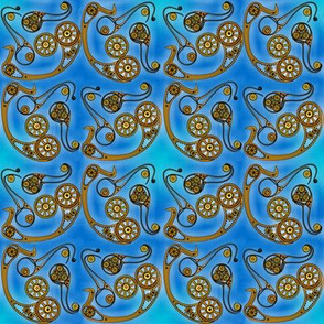 steampunk paisley blue