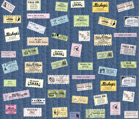 Misc Ads on Denim fabric by tulsa_gal on Spoonflower - custom fabric