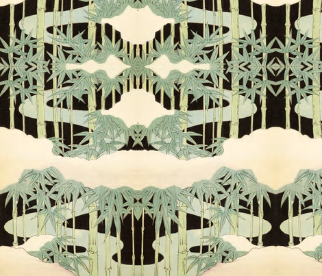 Bamboo and clouds fabric by quinnanya on Spoonflower - custom fabric