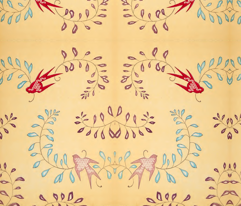 Birds and branches fabric by quinnanya on Spoonflower - custom fabric
