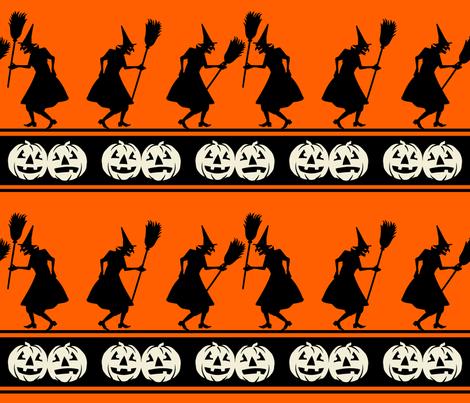 Brandishing Brooms ~ Black and cream on orange fabric by retrorudolphs on Spoonflower - custom fabric