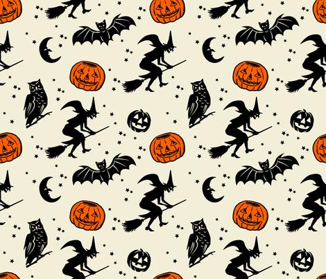 Bats and Jacks ~ Black on Cream with Orange Jacks fabric by retrorudolphs on Spoonflower - custom fabric