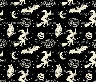 Bats and Jacks ~ Black with Cream