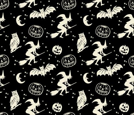 Bats and Jacks ~ Black with Cream fabric by retrorudolphs on Spoonflower - custom fabric