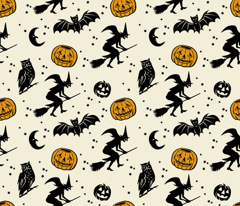 Bats and Jacks ~ Black on Cream with Antique Gold Jacks fabric by retrorudolphs on Spoonflower - custom fabric