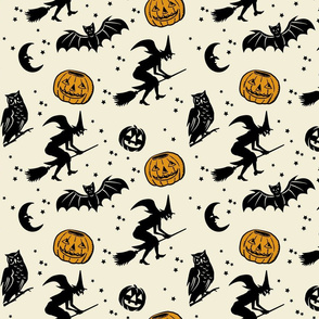 Bats and Jacks ~ Black on Cream with Antique Gold Jacks