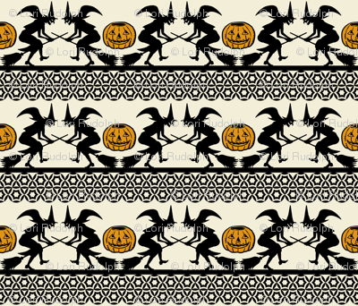 BEWITCHED ~ Black and Antique Gold on Cream