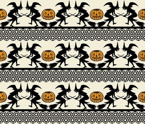BEWITCHED ~ Black and Antique Gold on Cream fabric by retrorudolphs on Spoonflower - custom fabric