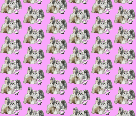Shih Tzus In Pink fabric for dogs fabric by dogdaze_ on Spoonflower - custom fabric