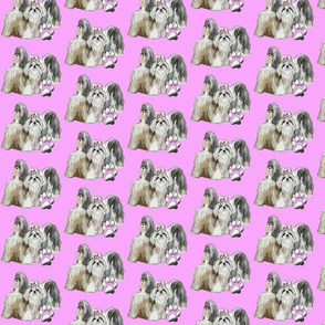 Shih Tzus In Pink fabric for dogs